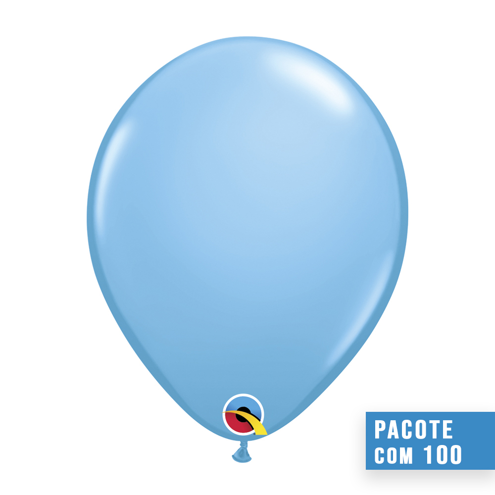 BALÃO DE LÁTEX AZUL CLARO 9 POLEGADAS - PC 100UN - QUALATEX #43697