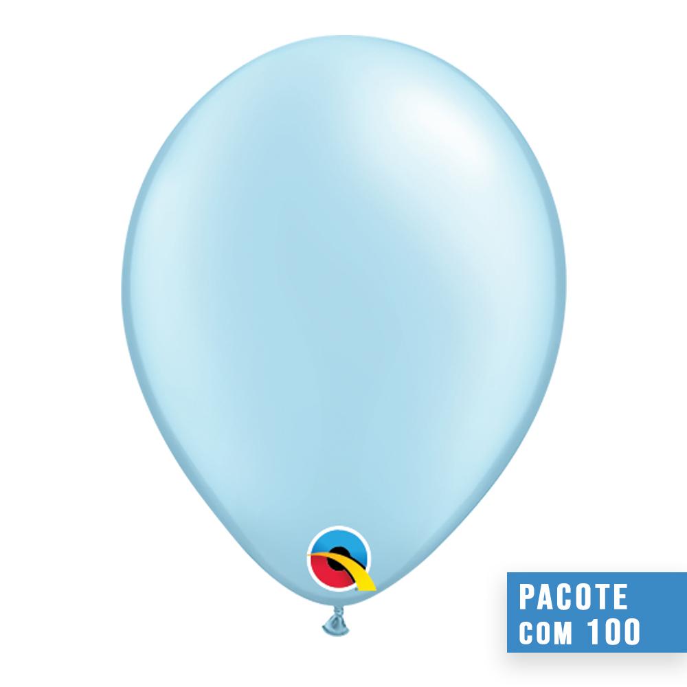 BALÃO DE LÁTEX AZUL CLARO PEROLADO 11 POLEGADAS - PC 100UN - QUALATEX #43777
