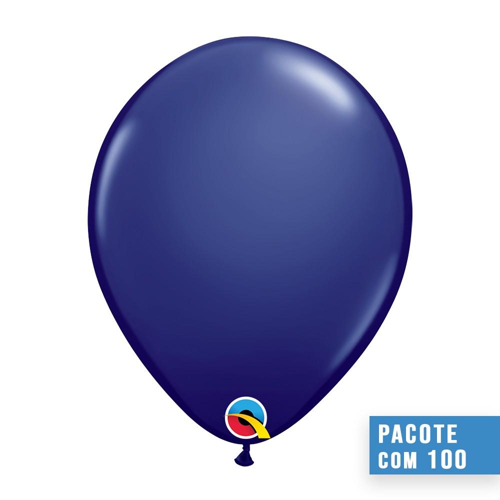 BALÃO DE LÁTEX AZUL MARINHO 11 POLEGADAS - PC 100UN - QUALATEX #57127