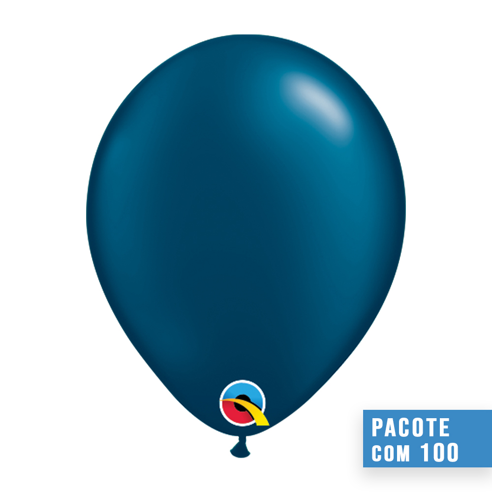 BALÃO DE LÁTEX AZUL NOITE PEROLADO 5 POLEGADAS - PC 100UN - QUALATEX #43589