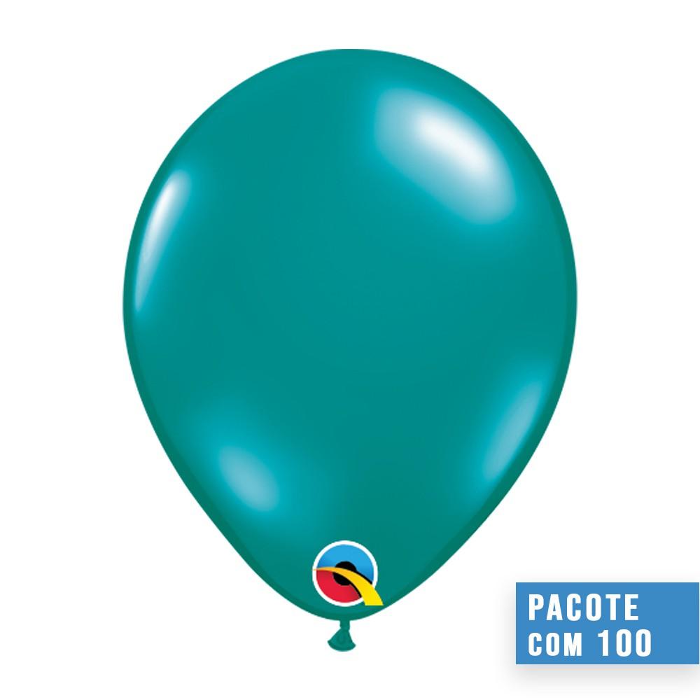 BALÃO DE LÁTEX AZUL PETRÓLEO JOIA 9 POLEGADAS - PC 100UN - QUALATEX #43690