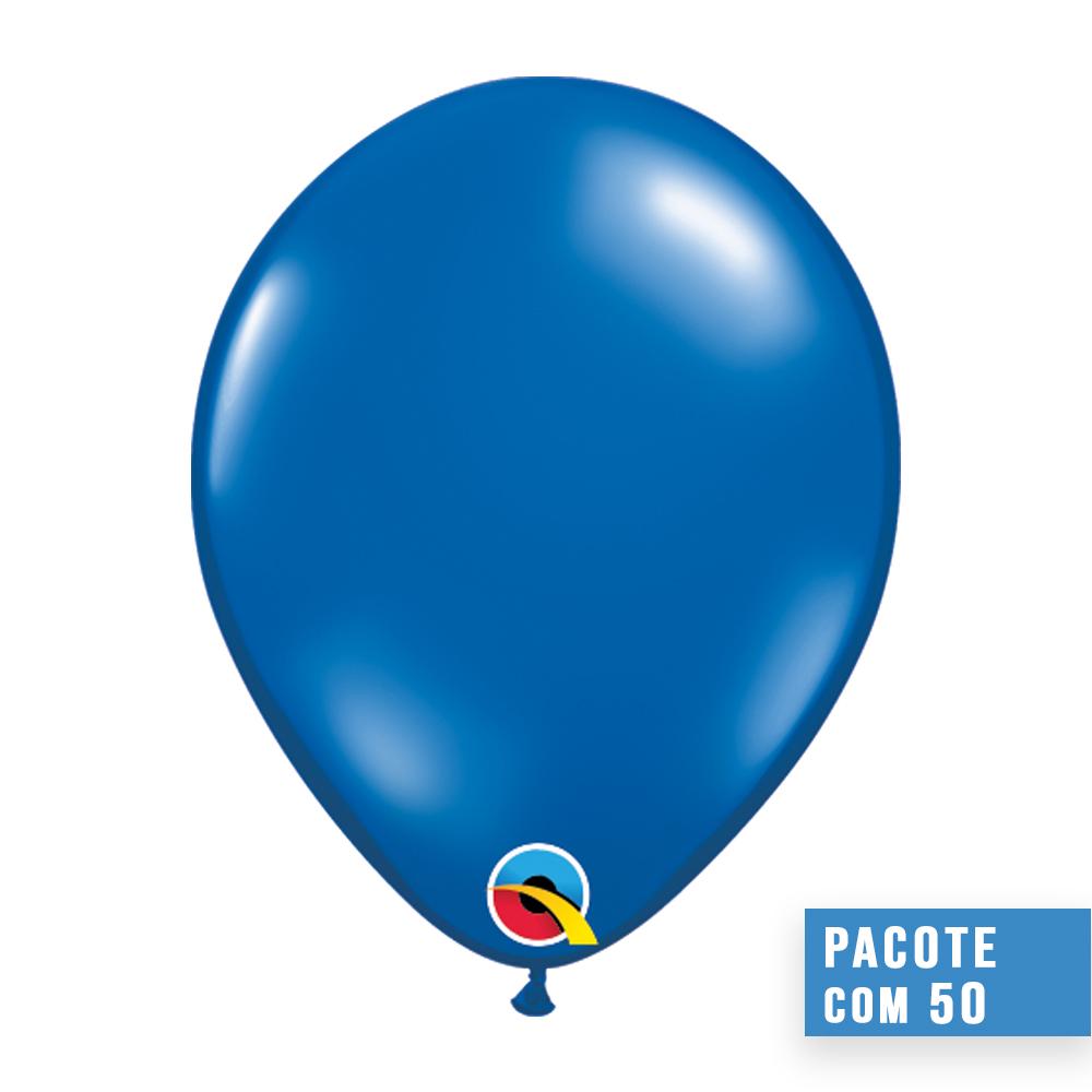 BALÃO DE LÁTEX AZUL SAFIRA JOIA 16 POLEGADAS - PC 50UN - QUALATEX #43900