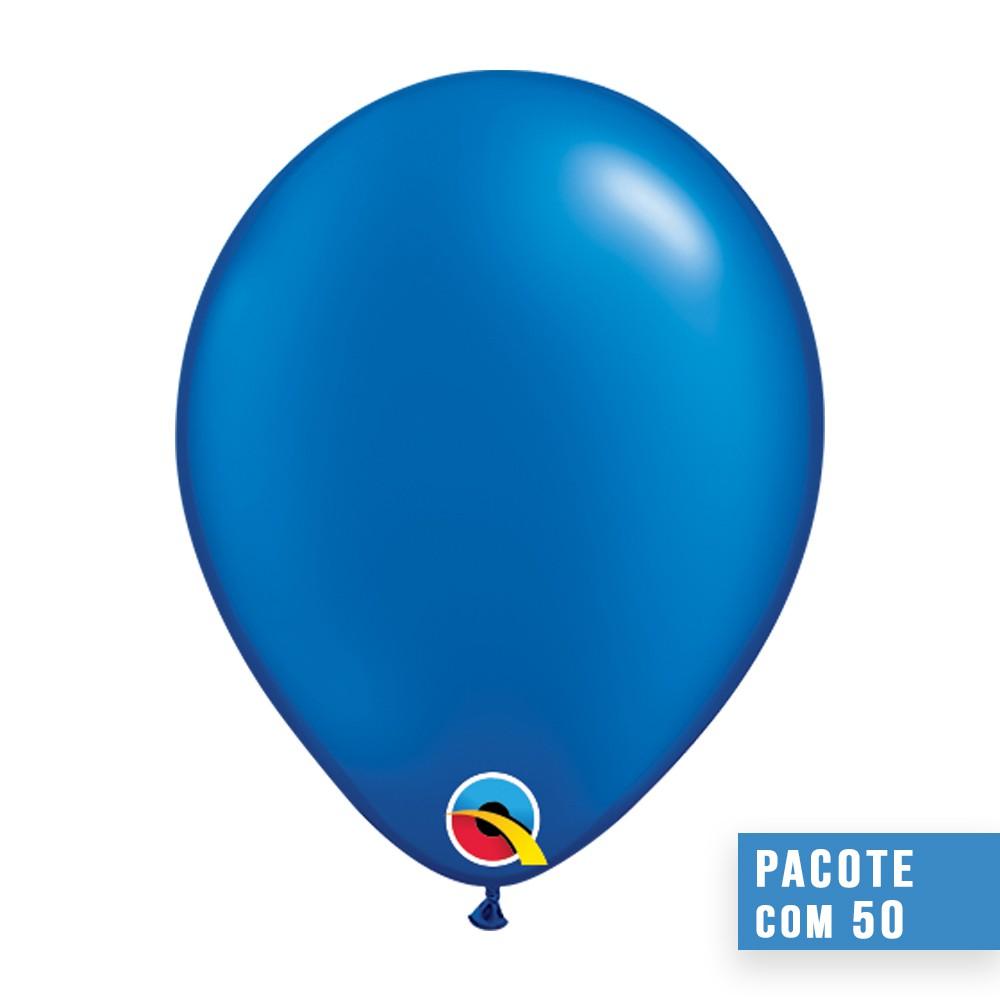 BALÃO DE LÁTEX AZUL SAFIRA PEROLADO 5 POLEGADAS - PC 100UN - QUALATEX #43595