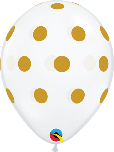 BALÃO DE LÁTEX BIG POLKA DOTS OURO 11 POLEGADAS - PC 50UN - QUALATEX #55452