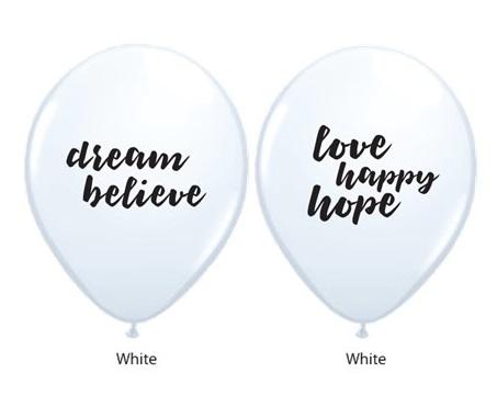 BALÃO DE LÁTEX BRANCO 11 POLEGADAS DREAM BELIEVE LOVE HAPPY HOPE PC 06 -  QUALATEX #53511A6