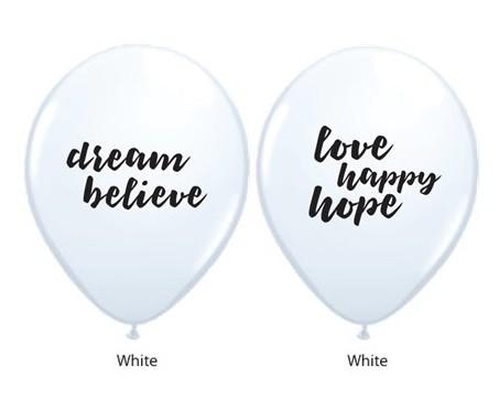 BALÃO DE LÁTEX BRANCO 11 POLEGADAS DREAM BELIEVE LOVE HAPPY HOPE PC 50 -  QUALATEX #53511A
