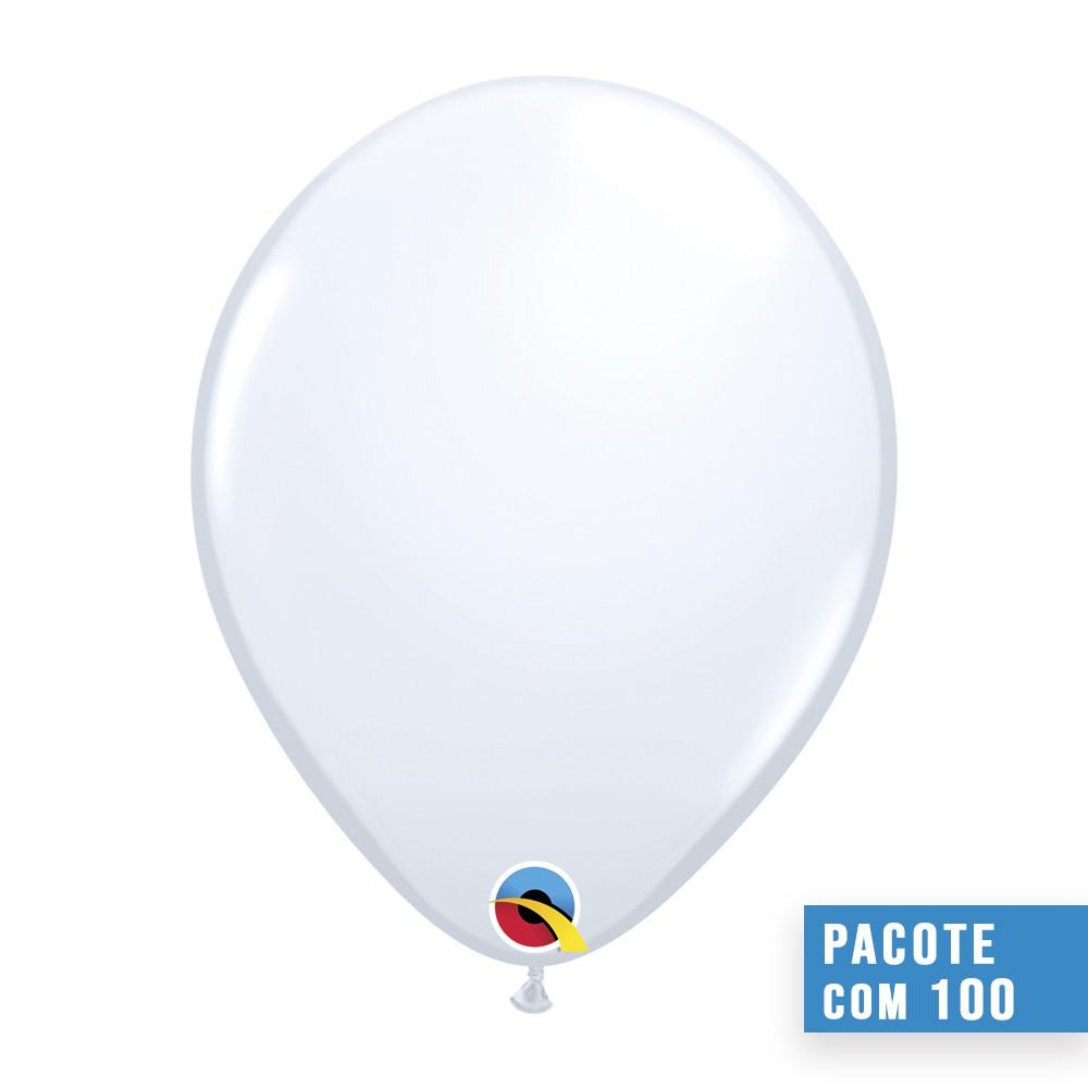 BALÃO DE LÁTEX BRANCO 9 POLEGADAS - PC 100UN - QUALATEX #43712