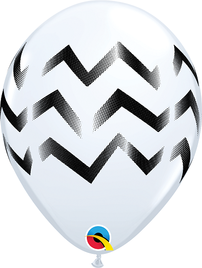 BALÃO DE LÁTEX BRANCO CHEVRON STRIPES 11 POLEGADAS PC 50 -  QUALATEX #87887
