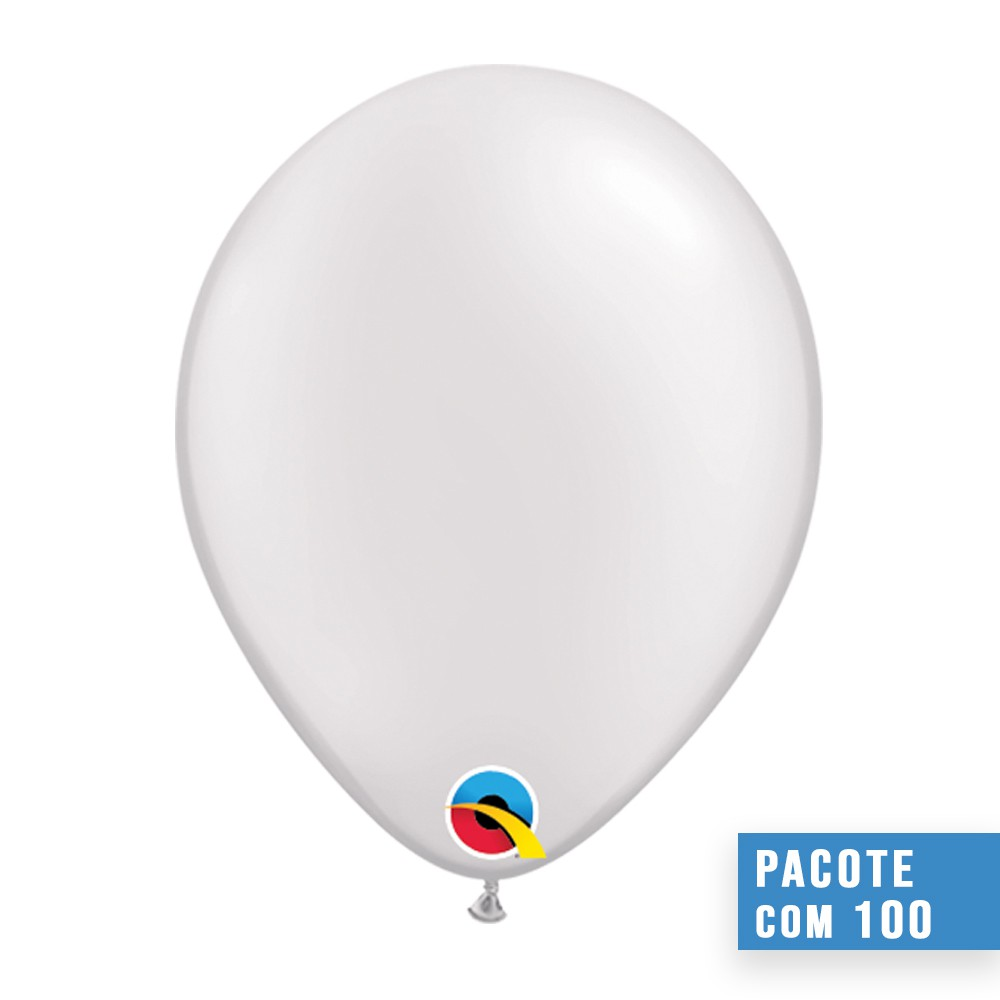 BALÃO DE LÁTEX BRANCO PEROLADO 11 POLEGADAS - PC 100UN - QUALATEX #43788