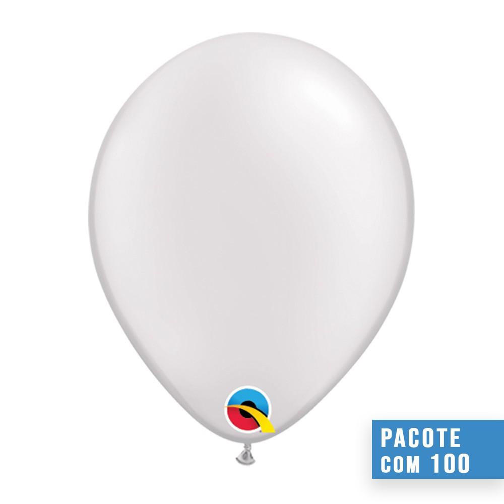 BALÃO DE LÁTEX BRANCO PEROLADO 5 POLEGADAS - PC 100UN - QUALATEX #43597