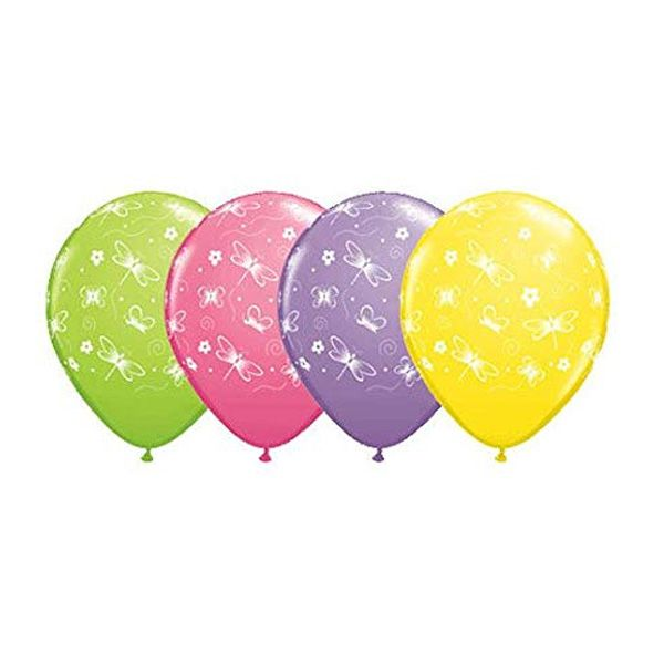 BALÃO DE LÁTEX BUTTERFLIES & DRAGONFLIES A RND 11 POLEGADAS - PC 100UN - QUALATEX #76238