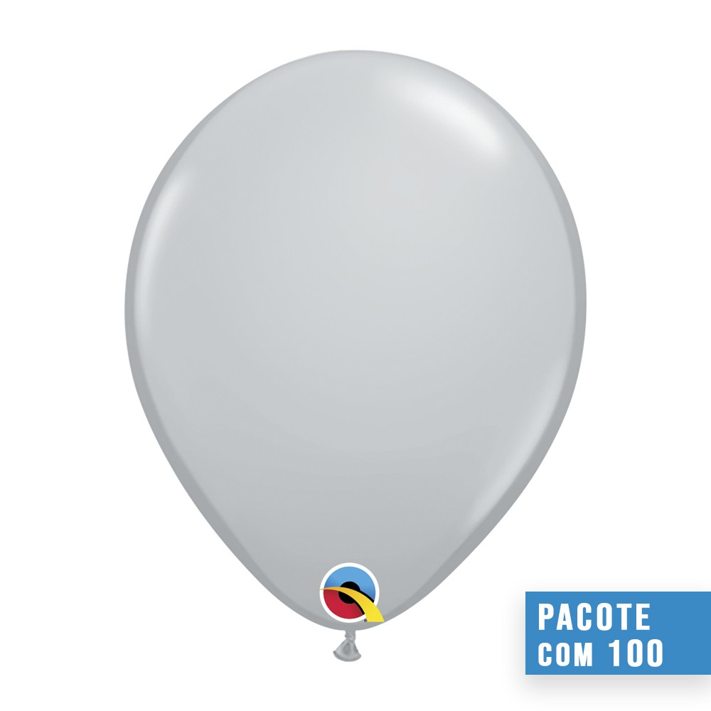 BALÃO DE LÁTEX CINZA 11 POLEGADAS - PC 100UN - QUALATEX #13780