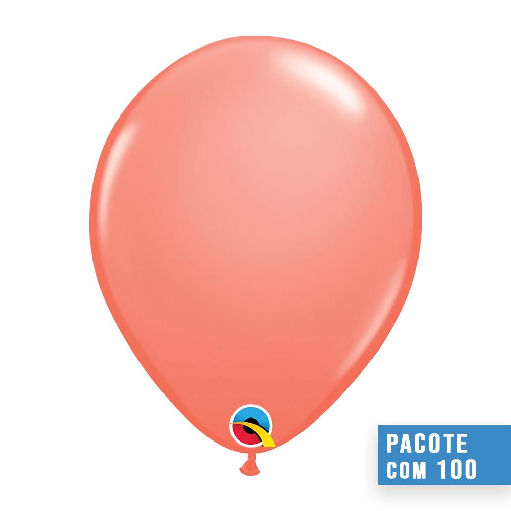 BALÃO DE LÁTEX CORAL 11 POLEGADAS - PC 100UN - QUALATEX #24284