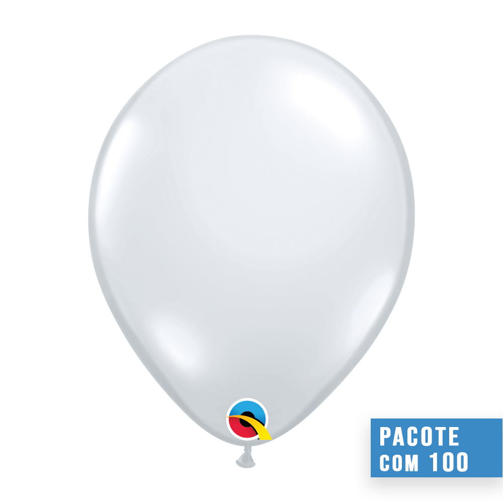 BALÃO DE LÁTEX CRISTAL DIAMANTE TRANSPARENTE 5 POLEGADAS - PC 100UN - QUALATEX #43552