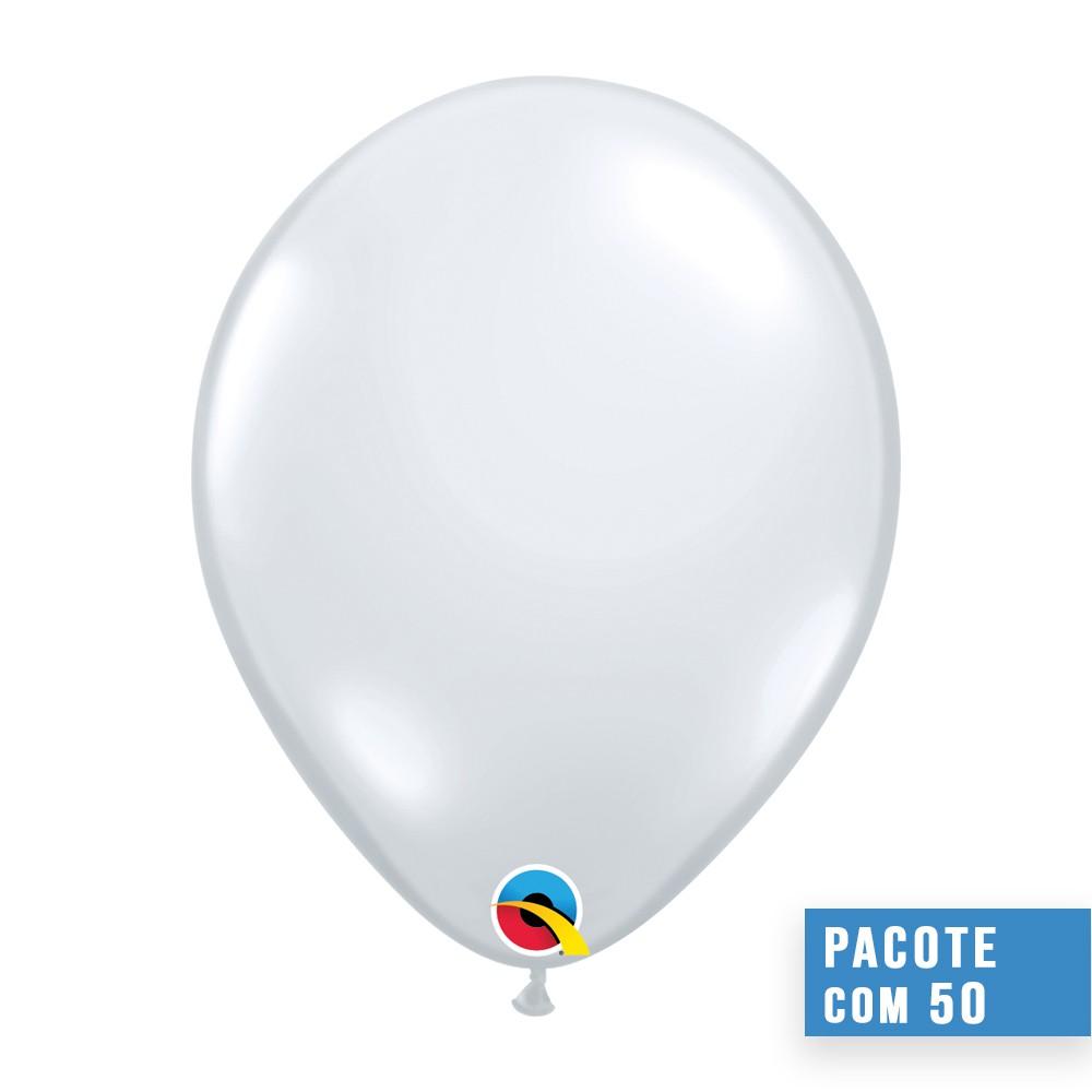 BALÃO DE LÁTEX DIAMANTE TRANSPARENTE 16 POLEGADAS - PC 50UN - QUALATEX #43861
