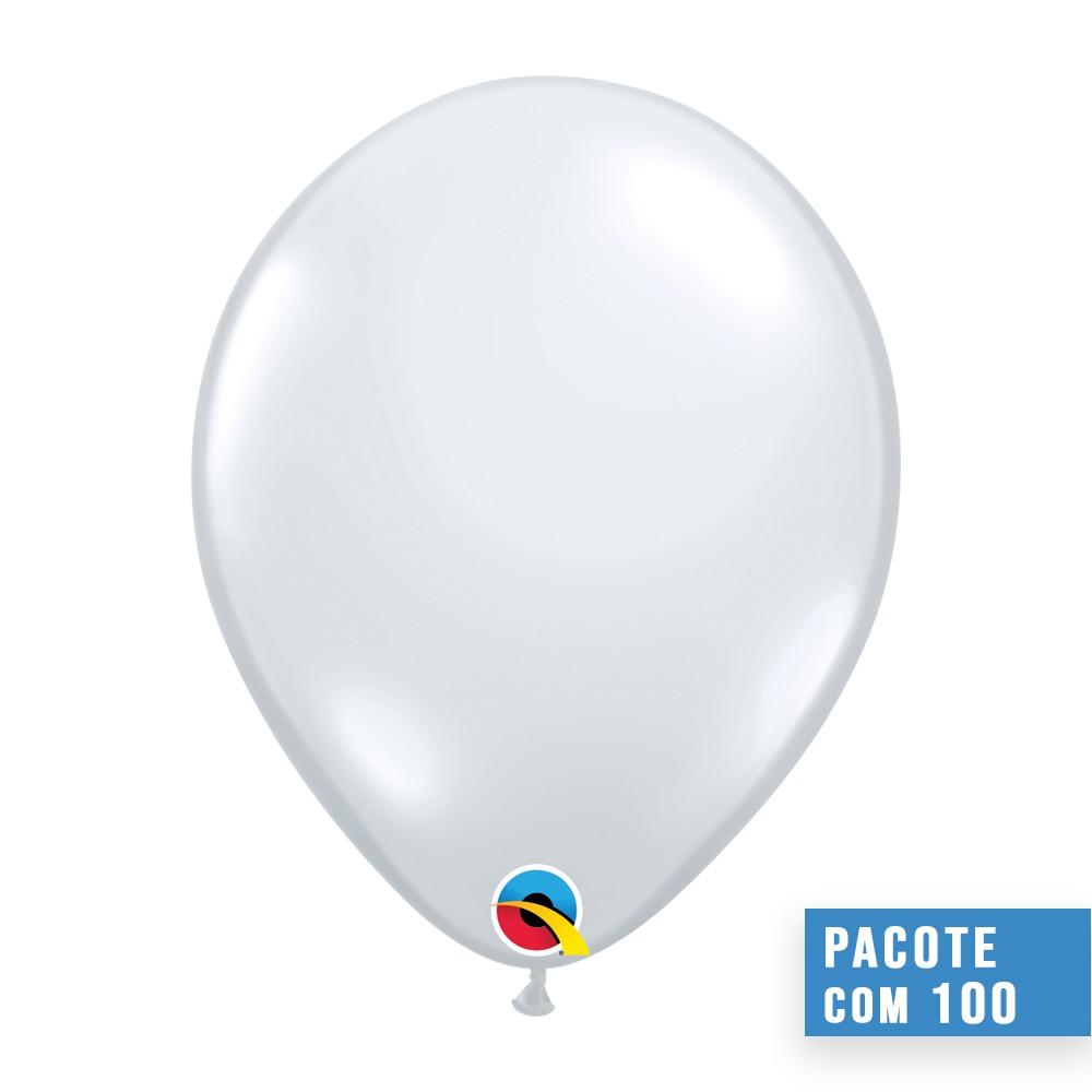 BALÃO DE LÁTEX DIAMANTE TRANSPARENTE 9 POLEGADAS - PC 100UN - QUALATEX #43679