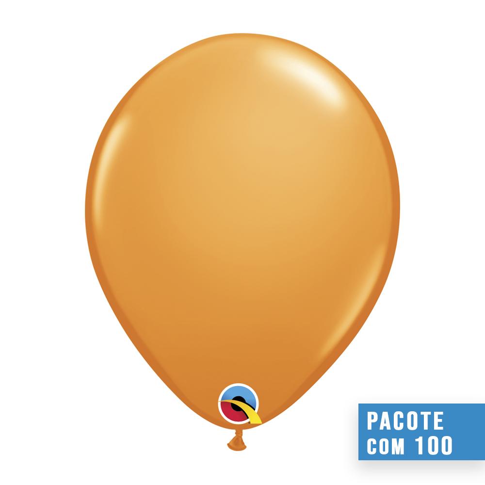 BALÃO DE LÁTEX LARANJA 9 POLEGADAS - PC 100UN - QUALATEX #43696