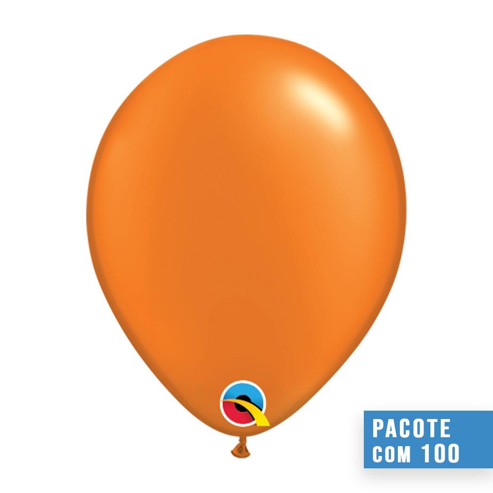 BALÃO DE LÁTEX LARANJA MANDARIM PEROLADO 11 POLEGADAS - PC 100UN - QUALATEX #48959