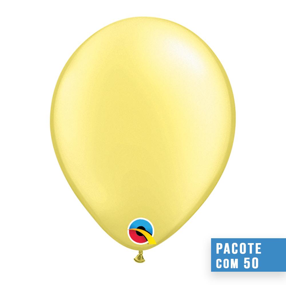 BALÃO DE LÁTEX LIMÃO CHIFFON PEROLADO 16 POLEGADAS - PC 50UN - QUALATEX #43887