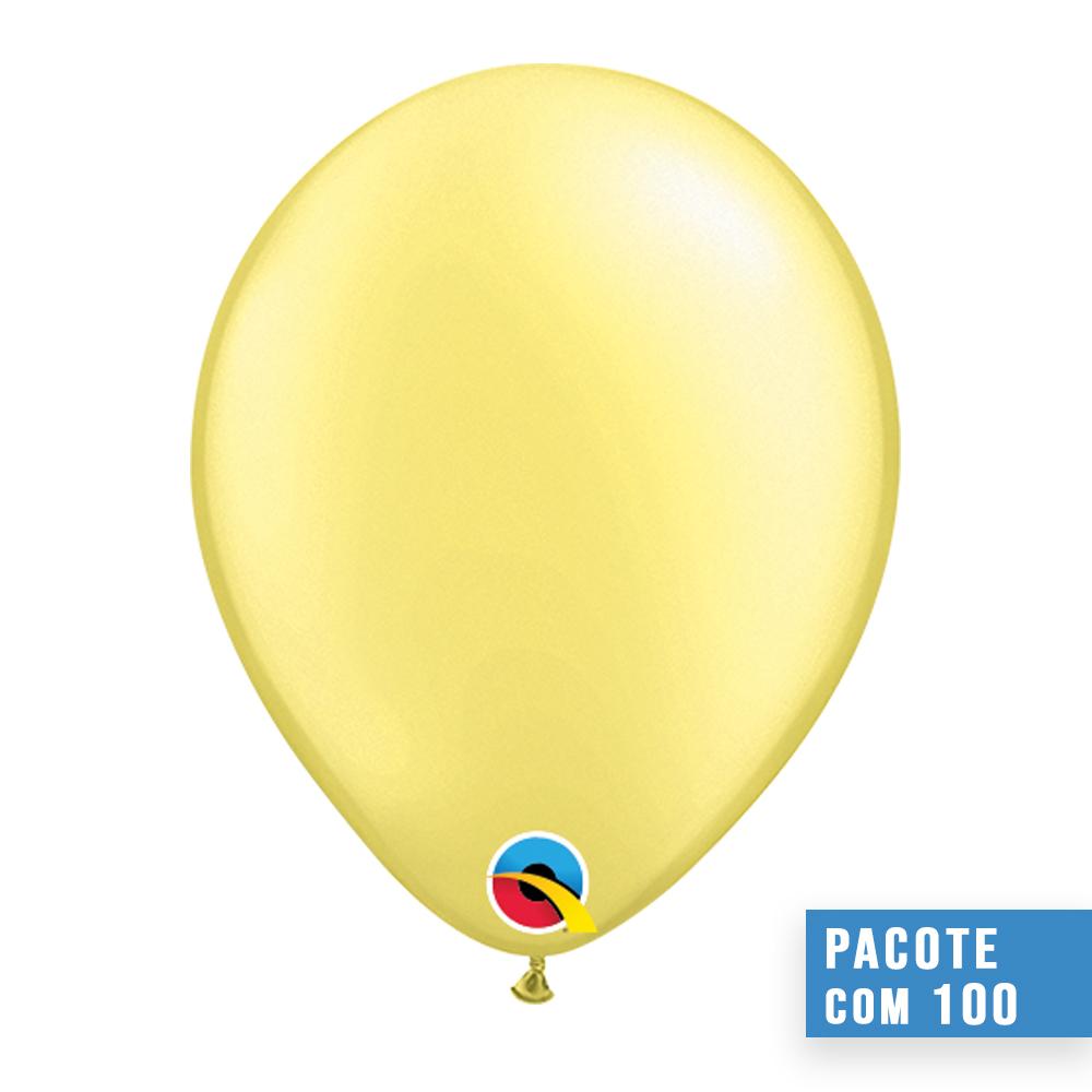 BALÃO DE LÁTEX LIMÃO CHIFFON PEROLADO 5 POLEGADAS - PC 100UN - QUALATEX #43585