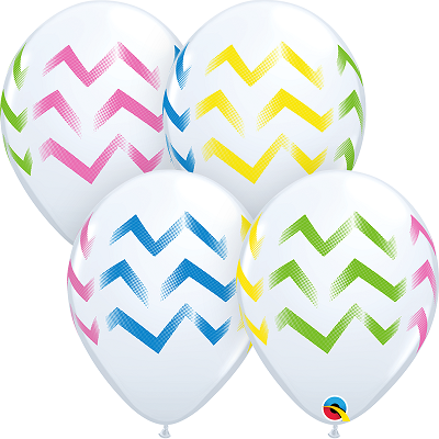 BALÃO DE LÁTEX LISTRAS CHEVRON COLORIDAS 11 POLEGADAS PC 50 -  QUALATEX #88212