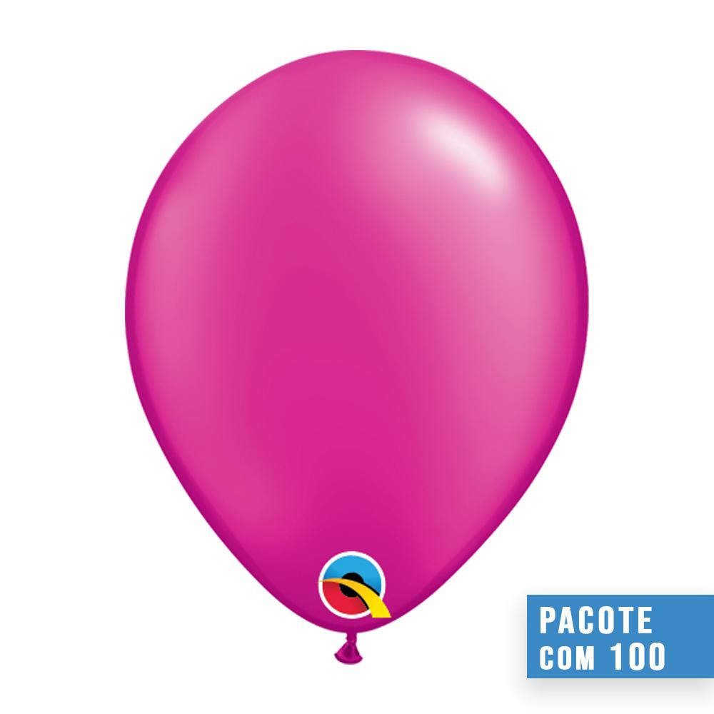 BALÃO DE LÁTEX MAGENTA PEROLADO 11 POLEGADAS - PC 100UN - QUALATEX #99350