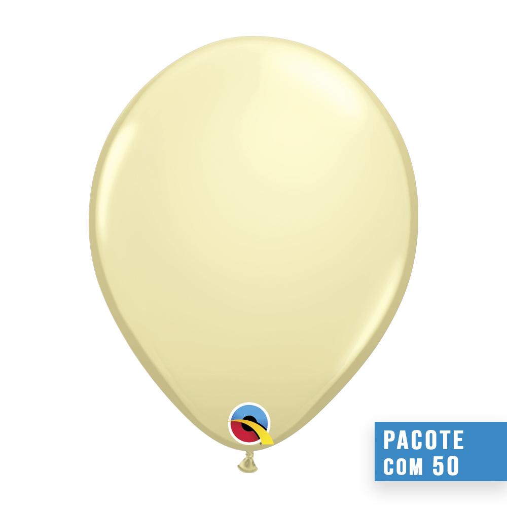 BALÃO DE LÁTEX MARFIM ACETINADO 16 POLEGADAS - PC 50UN - QUALATEX #43870