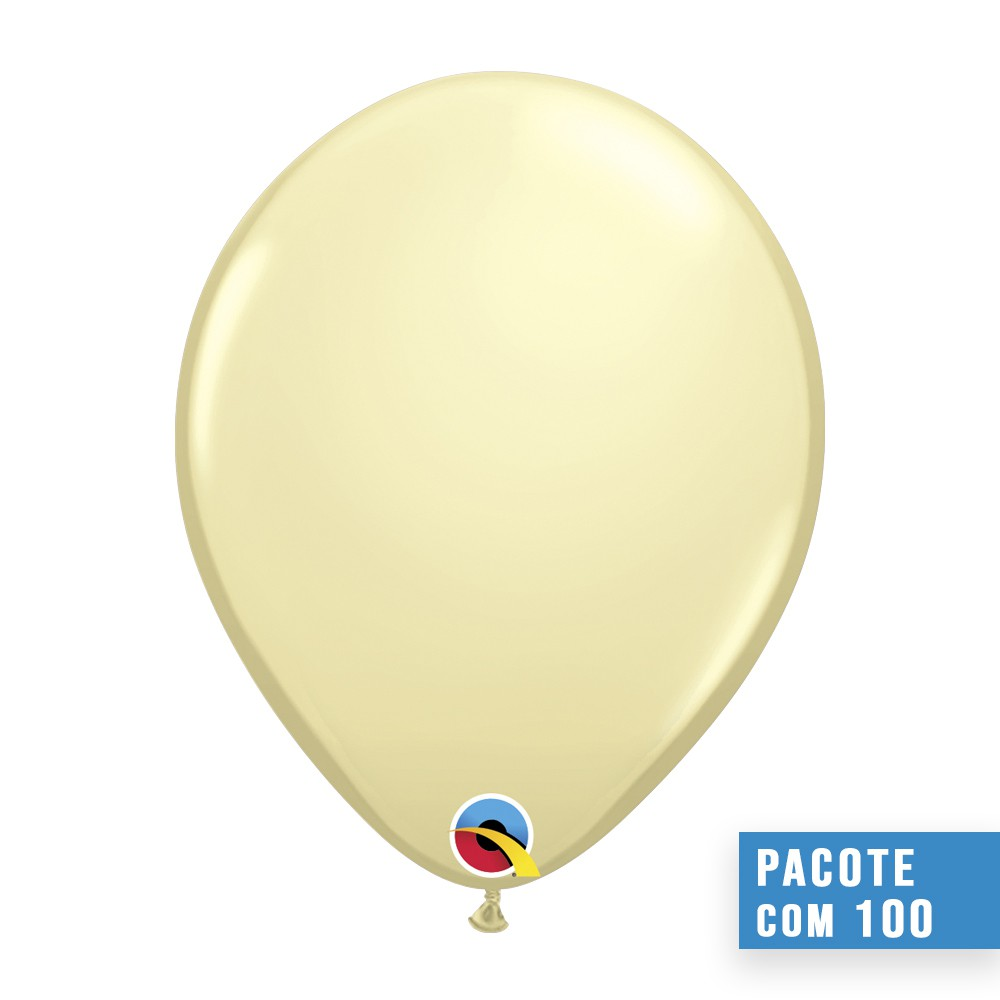 BALÃO DE LÁTEX MARFIM ACETINADO 9 POLEGADAS - PC 100UN - QUALATEX #43688