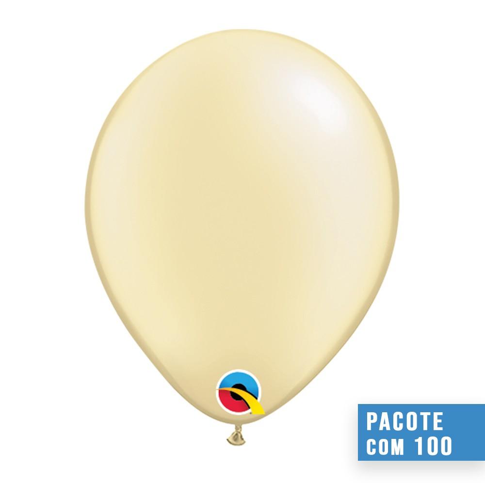 BALÃO DE LÁTEX MARFIM PEROLADO 11 POLEGADAS - PC 100UN - QUALATEX #43775