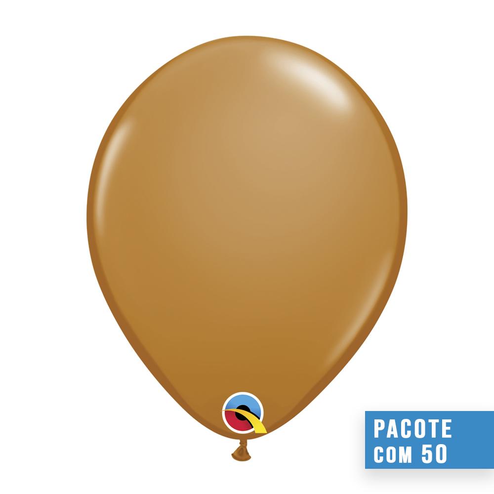 BALÃO DE LÁTEX MARROM MOCHA 16 POLEGADAS - PC 50UN - QUALATEX #99381