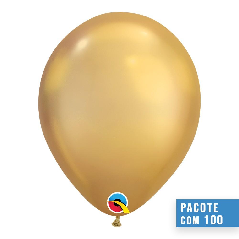 BALÃO DE LÁTEX OURO CHROME 7 POLEGADAS - PC 100UN - QUALATEX #85111