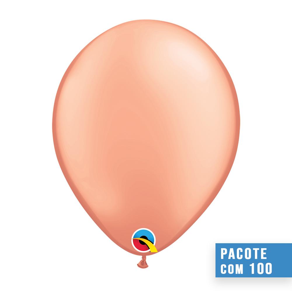 BALÃO DE LÁTEX OURO ROSÉ 5 POLEGADAS - PC 100UN - QUALATEX #57340