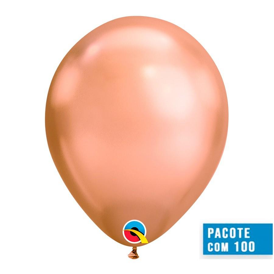 BALÃO DE LÁTEX OURO ROSE CHROME 11 POLEGADAS - PC 100UN - QUALATEX #12966