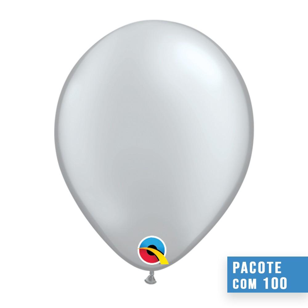 BALÃO DE LÁTEX PRATA 11 POLEGADAS - PC 100UN - QUALATEX #43794