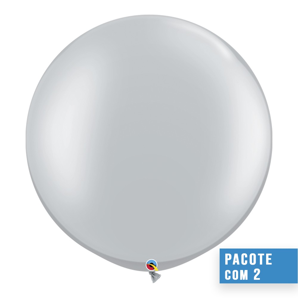 BALÃO DE LÁTEX PRATA 30 POLEGADAS - PC 2UN - QUALATEX #38402