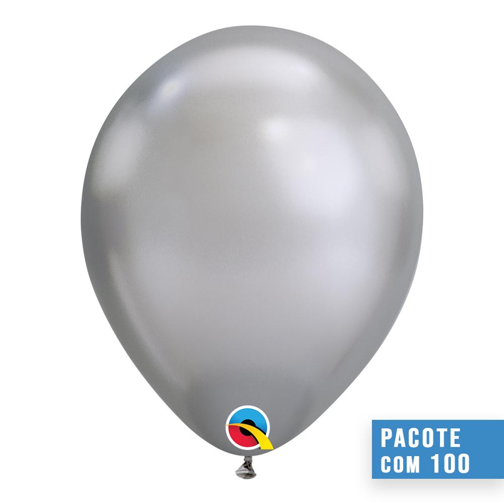 BALÃO DE LÁTEX PRATA CHROME 11 POLEGADAS - PC 100UN - QUALATEX #58270