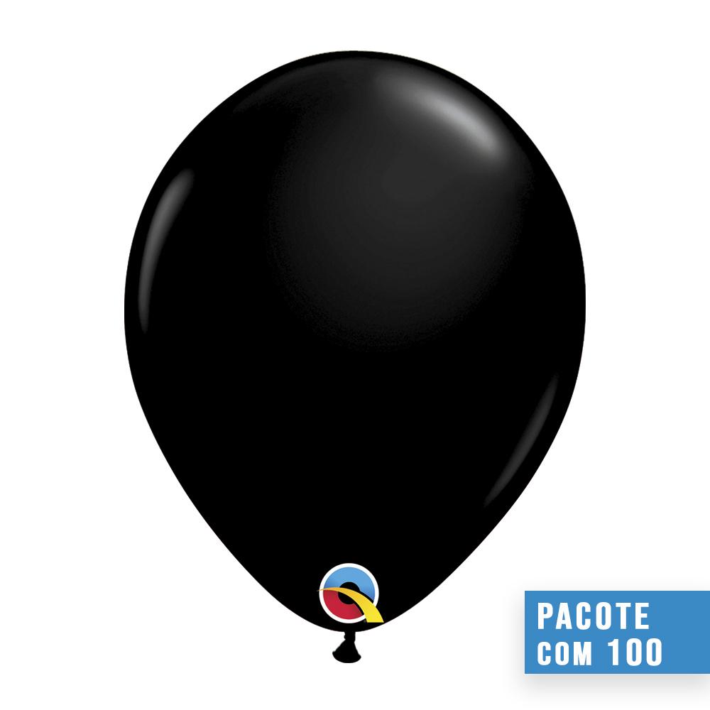 BALÃO DE LÁTEX PRETO ÔNIX 9 POLEGADAS - PC 100UN - QUALATEX #43675