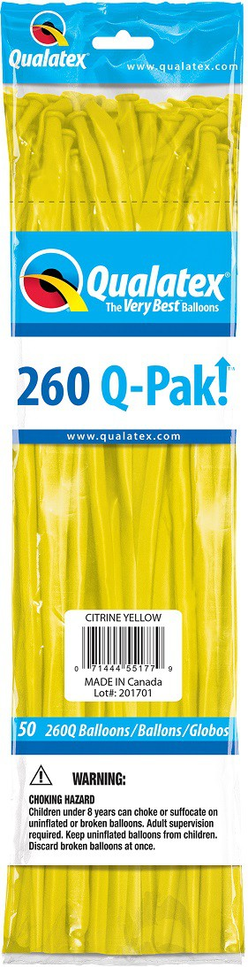 BALÃO DE LÁTEX Q-PAK AMARELO CITRINO - PC 50UN - QUALATEX #55177