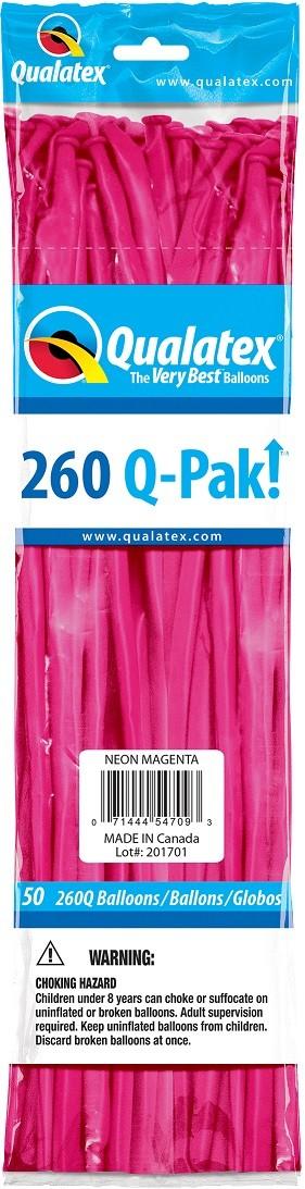BALÃO DE LÁTEX Q-PAK MAGENTA NEON - PC 50UN - QUALATEX #54709