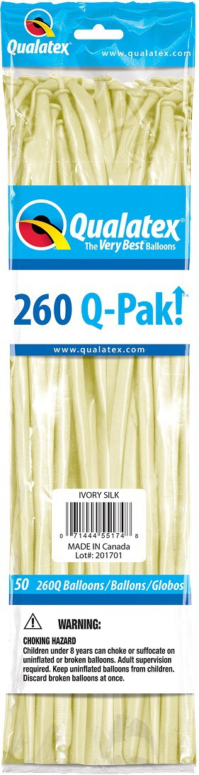 BALÃO DE LÁTEX Q-PAK MARFIM ACETINADO - PC 50UN - QUALATEX #55174