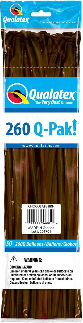 BALÃO DE LÁTEX Q-PAK MARROM CHOCOLATE - PC 50UN - QUALATEX #54661