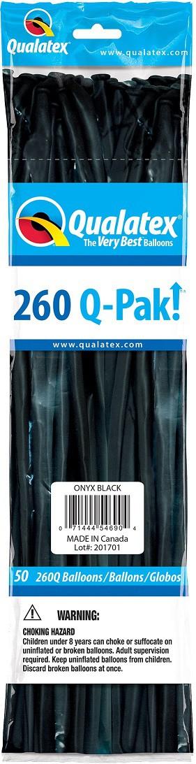 BALÃO DE LÁTEX Q-PAK PRETO ONIX - PC 50UN - QUALATEX #54690