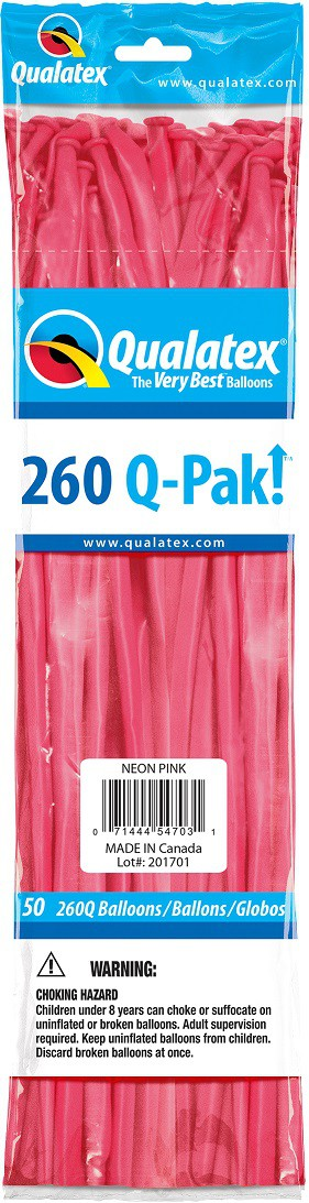 BALÃO DE LÁTEX Q-PAK ROSA NEON - PC 50UN - QUALATEX #54703