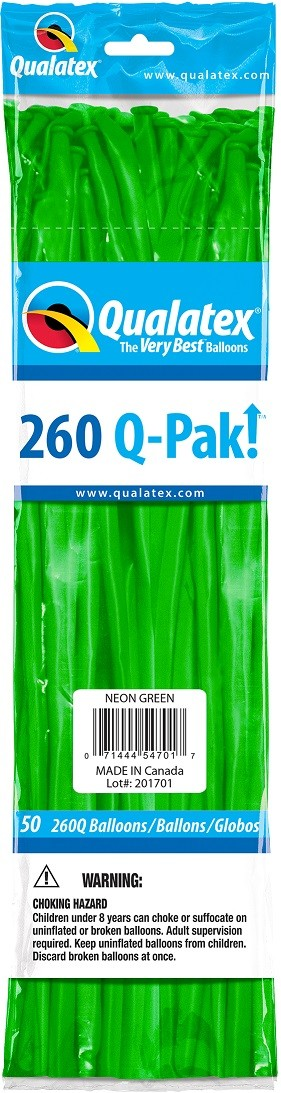 BALÃO DE LÁTEX Q-PAK VERDE NEON - PC 50UN - QUALATEX #54701