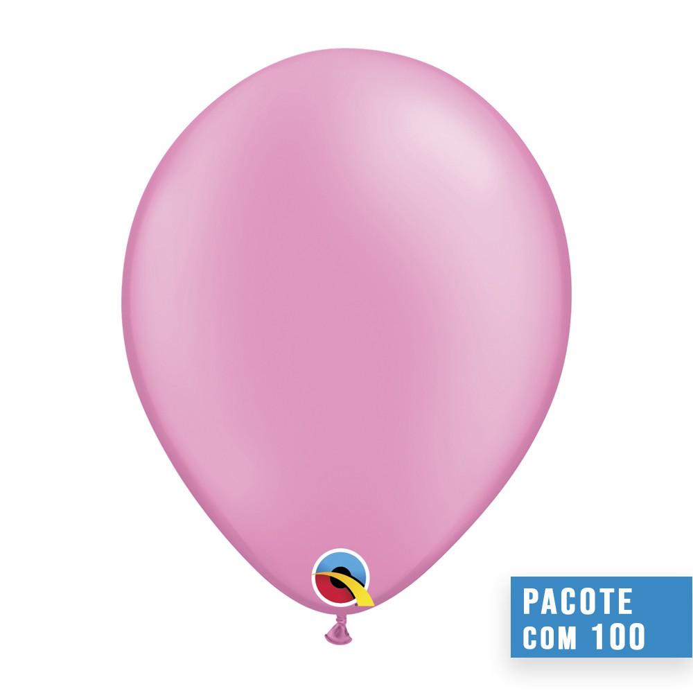 BALÃO DE LÁTEX ROSA NEON 11 POLEGADAS - PC 100UN - QUALATEX #74573
