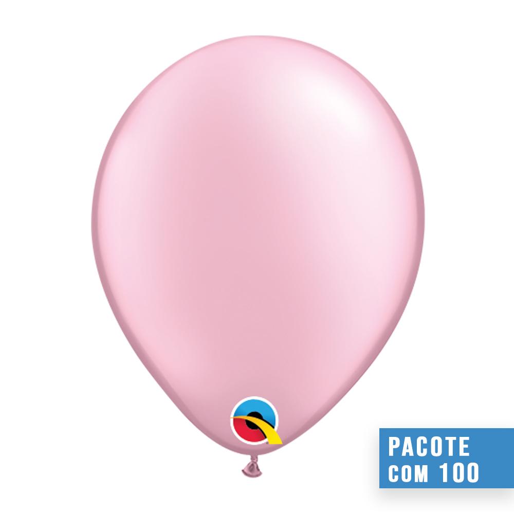 BALÃO DE LÁTEX ROSA PEROLADO 5 POLEGADAS - PC 100UN - QUALATEX #43592