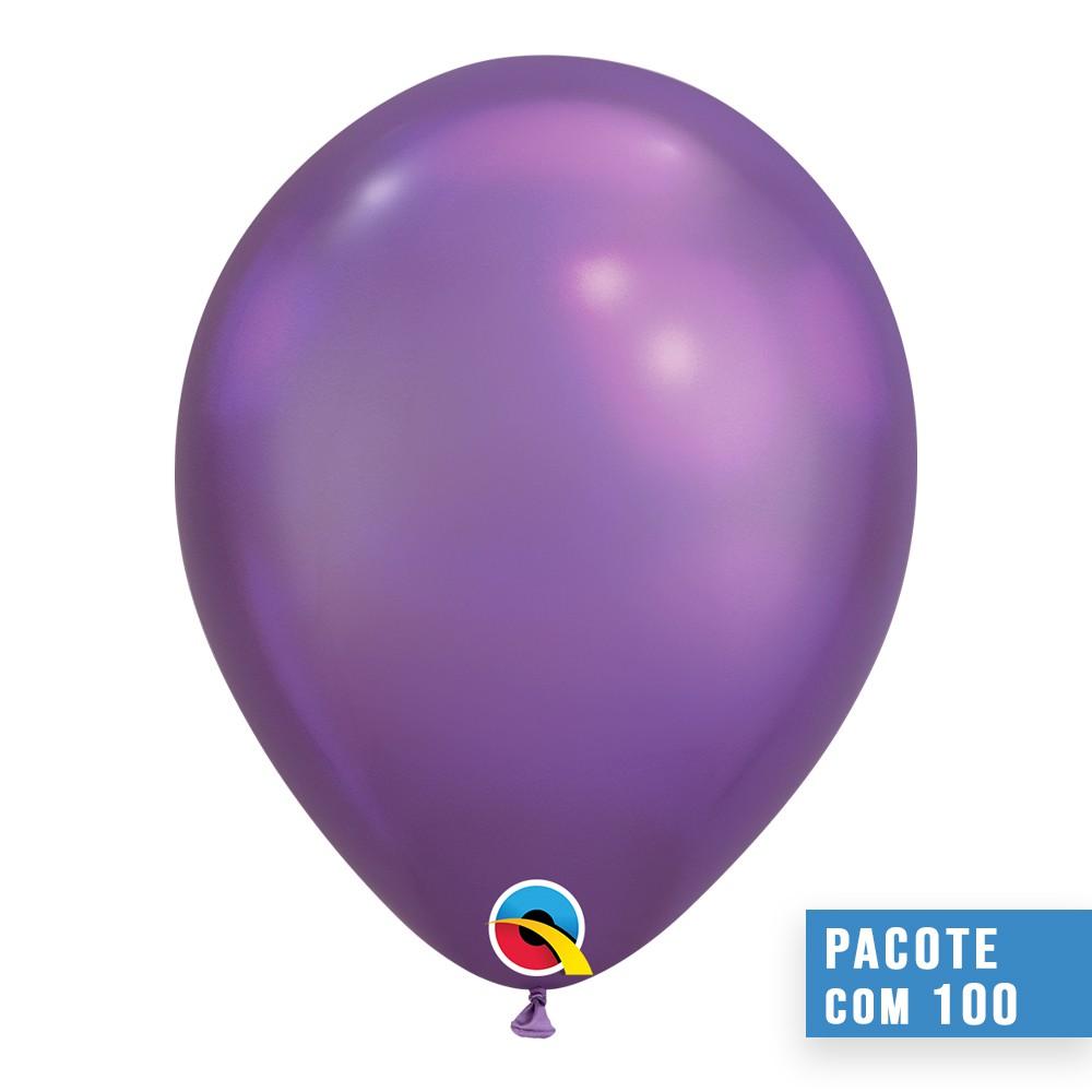 BALÃO DE LÁTEX ROXO CHROME 7 POLEGADAS - PC 100UN - QUALATEX #85155