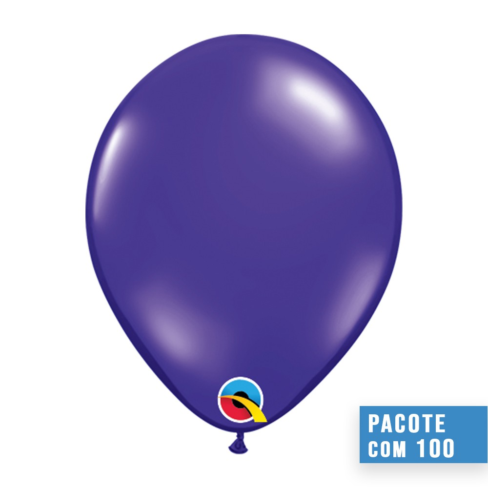 BALÃO DE LÁTEX ROXO QUARTZO 5 POLEGADAS - PC 100UN - QUALATEX #43598
