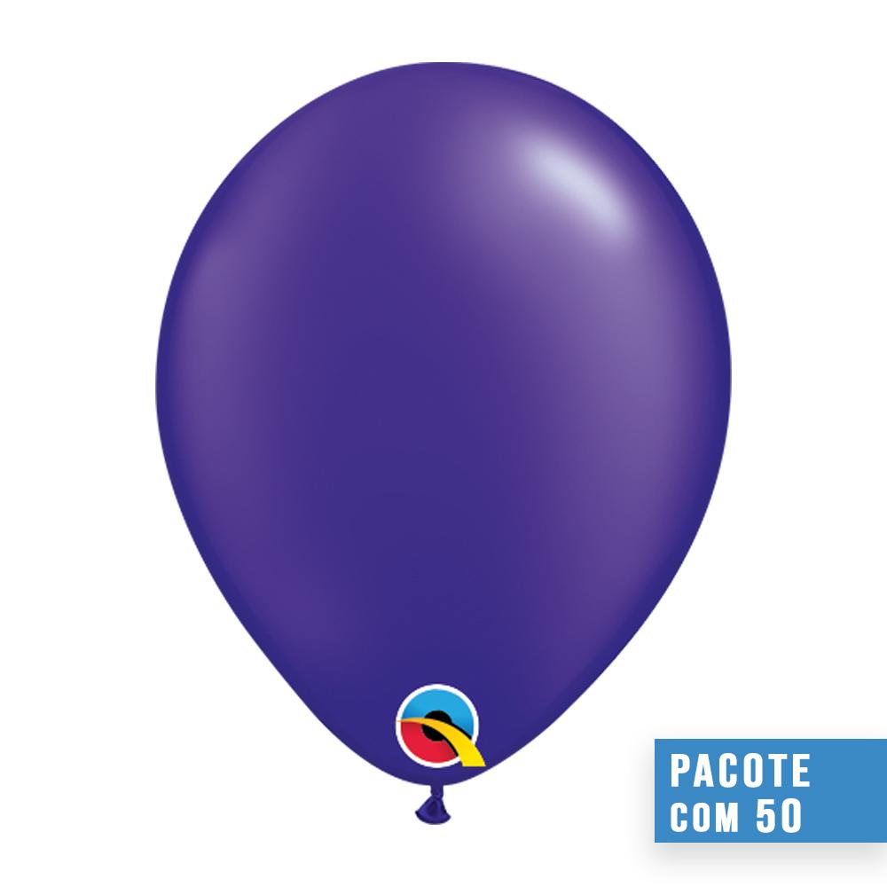 BALÃO DE LÁTEX ROXO QUARTZO PEROLADO 16 POLEGADAS - PC 50UN - QUALATEX #87177