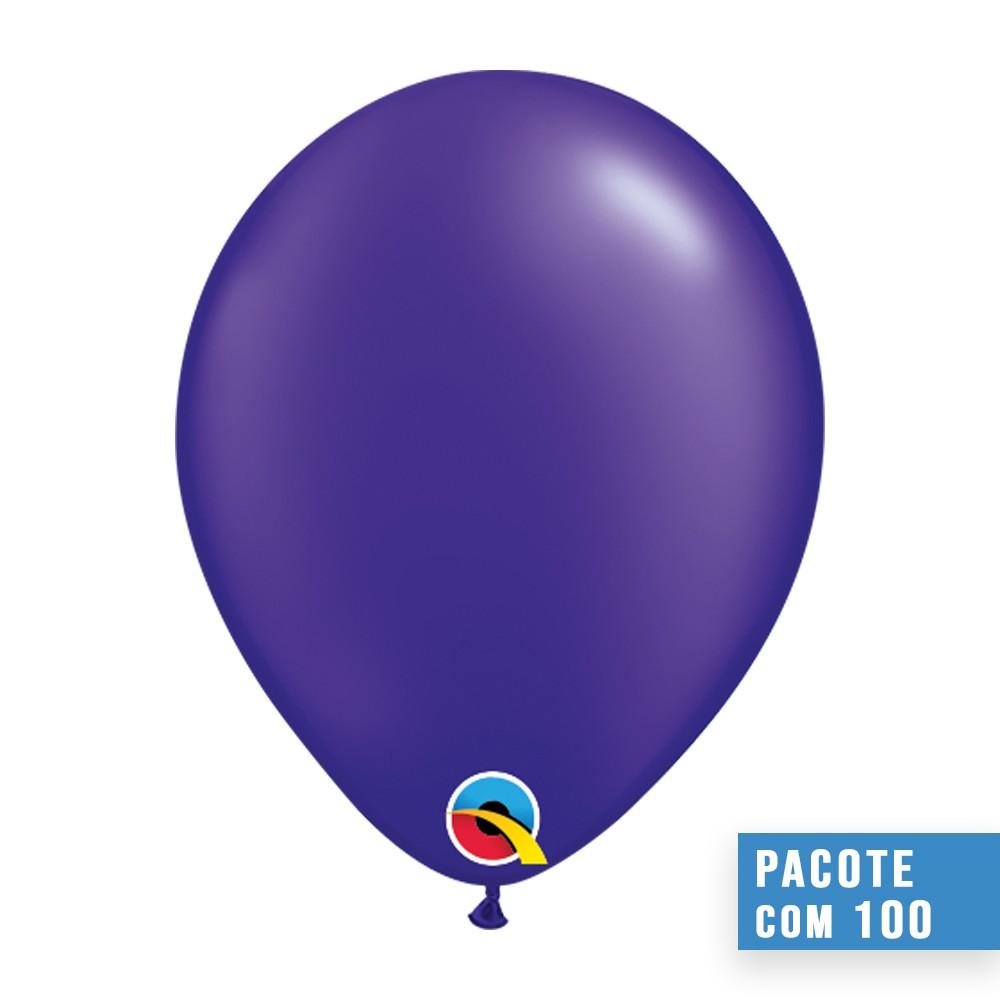 BALÃO DE LÁTEX ROXO QUARTZO PEROLADO 5 POLEGADAS - PC 100UN - QUALATEX #43593